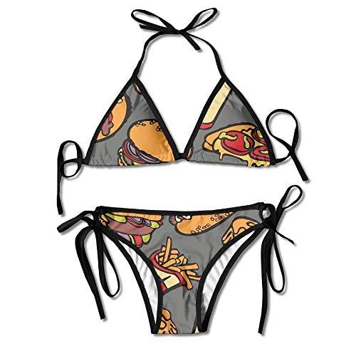 Hamburger Tomaten Käse Pizza Bikini Damen Sommer Badebekleidung Triangle Top Bikinis Badeanzug 2-teiliges Set