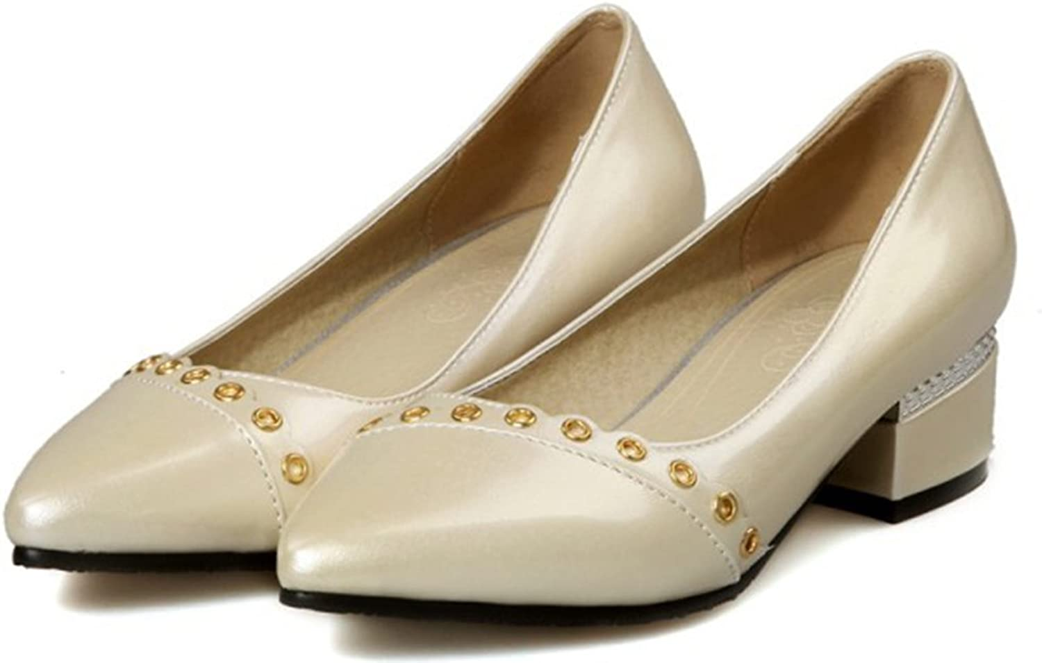 IDIFU Women's Elegant Closed Pointed Toe Slip On Pumps Low Top shoes with Heels