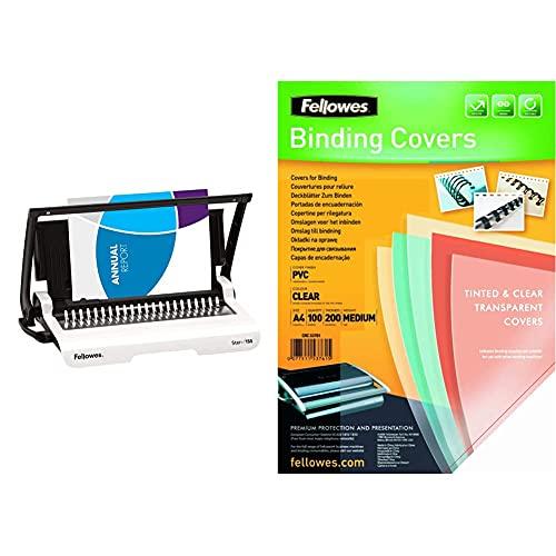 Fellowes Star+ Encuadernadora Manual De Canutillo De Plástico, Uso Ocasional, Color Blanco + Portadas para encuadernar de PVC transparente, formato A4, 180 micras, pack de 100