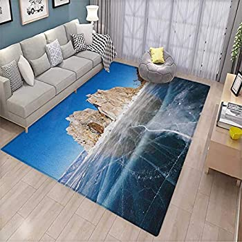 Winter Extra Large Area Rug Frozen Lake Baikal in Siberia Icicles Scenic Nature Structure Cold Climate Floor Mat Pattern 6 6 x10  Blue Caramel White