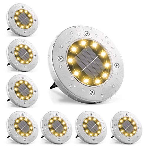 Solar Bodenleuchten Aussen Warmweiss 8 Stück 10 LEDs,Solarlampen Solarlicht für Garten, 3000K Warmweiß IP65 Wasserdichte Bodenstrahler Landschaft Beleuchtung für Außen [Energieklasse A+]