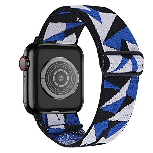 Fhony Correa de Nylon Compatible con Apple Watch Correa 38mm 40mm 42mm 44mm Transpirable Suave Pulsera de Nailon Trenzado de Tela Elástica para Iwatch Series 6/5/4/3/2/1,Blue White Black,42/44mm