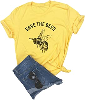 Anbech Save The Bees T Shirt Women Vintage Retro Graphic Yellow Casual Tee Tops