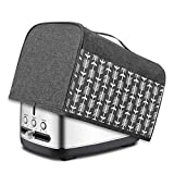 Yarwo 2 Slice Toaster Cover with Pockets and Top Handle, Nylon Toaster Cover Fits for Most Standard 2 slice Toasters, Gray with Arrow