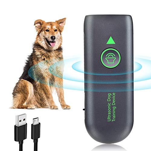 Ultrasuoni per Cani, Ultrasuoni Dispositivo di Controllo Anti Abbaiamento Fermare la Corteccia del Cane Portatile con LED Sicuro e Umano Addestramento All'aperto Per Cani di Piccola Taglia Grande