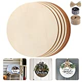 Fuyit Unfinished Wood Circles, 10Pcs 12 Inch Uniform Blank Wood Rounds Slice Wooden Cutouts with Ribbon & Twine for DIY Crafts, Door Hanger, Sign, Wood Buring, Painting, Christmas Decor