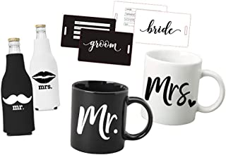 Mr Mrs Box Set: Just Married - Mr and Mrs Coffee Mug Set - Bridal Shower Set- Mr and Mrs Mugs- Luggage Tags - Koozie Set- for Bride and Groom - for Bridal Shower Wedding and Newlywed