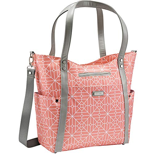 JJ Cole - Bucket Tote, Gender Neutral Large Capacity Diaper Bag, Multifunctional, Stylish, with Stroller Clips and Changing Pad, Coral Tile