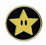 Gold Star parche (3pulgadas) Super Mario Hermanos bordado hierro o coser en insignia Power Up Applique Souvenir Retro DIY disfraz mundo Kart SNES