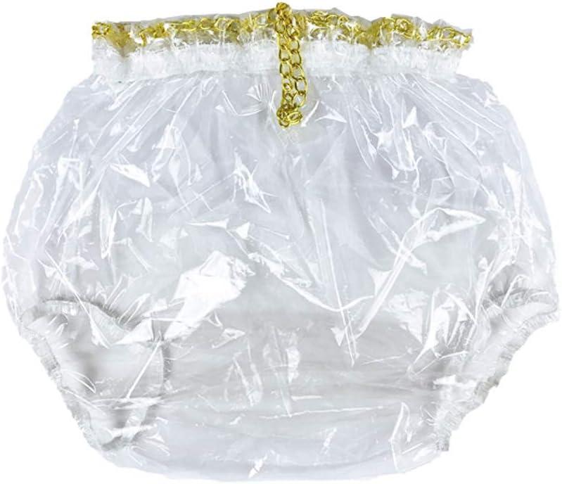 Haian Pull-On Locking Plastic (PVC&EVA) Pants (Glass Clear, X-Large)