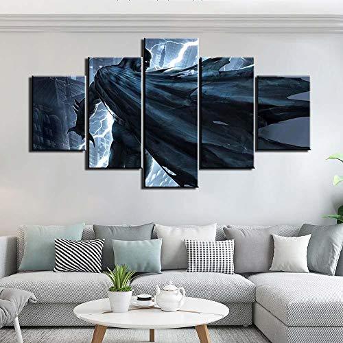 ADGUH 5BilderLeinwanHD-Drucke Leinwand Bilder Wandkunst 5 Stück Film Batman Gemälde Gemälde für Schlafzimmer Home Decor Arbeit5 Drucke auf Leinwand