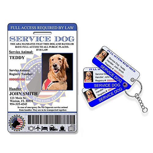 Custom Holographic Service Dog ID Card + 3 Key Tags | Includes Registration to National Dog Registry- QR Ready