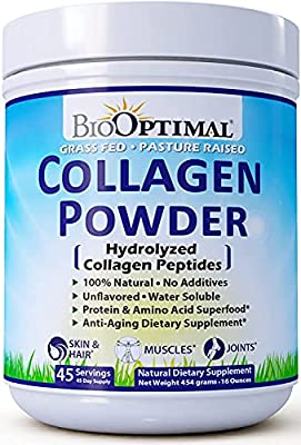 BioOptimal Collagen Peptides - Collagen Powder, Grass Fed, for Skin, Hair, Nails & Joints, Collagen Protein Powder, Pasture Raised, Dissolves Easily, 16 Ounces