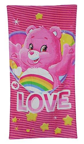 Care Bears Serviette de plage 70 x 140 cm avec inscription « Love » et figurine hurray-bearchi, rose avec étoiles et grand cœur