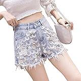 Nouveaux vêtements d'été Heavy Sequins Perles Chaînes Trou Jeans Shorts Femmes Slim All-Match Tassel Denim Shorts