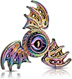 Dragon Wings Eyes Fidget Spinner Toy Made by Metal, Tri Hand Spinner Low Noise High Speed Focus Toy with Steel Self-Lubricating Bearing,Phoenix,Rainbow Color Gift Party Favors Prizes For Kids Adults