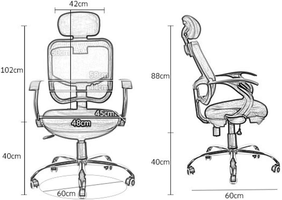 Chaise de bureau ergonomique Chaise en tissu avec support lombaire Tabouret de direction moderne réglable Chaise pivotante à roulettes (Color : Black) Black