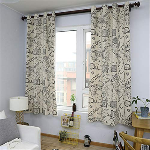 European Thick Polyester Quick-Drying Curtains, Modern And Simple Wind Map Printing Curtains, Living Room And Bedroom Blackout Waterproof Gauze Curtains, 2 Pieces
