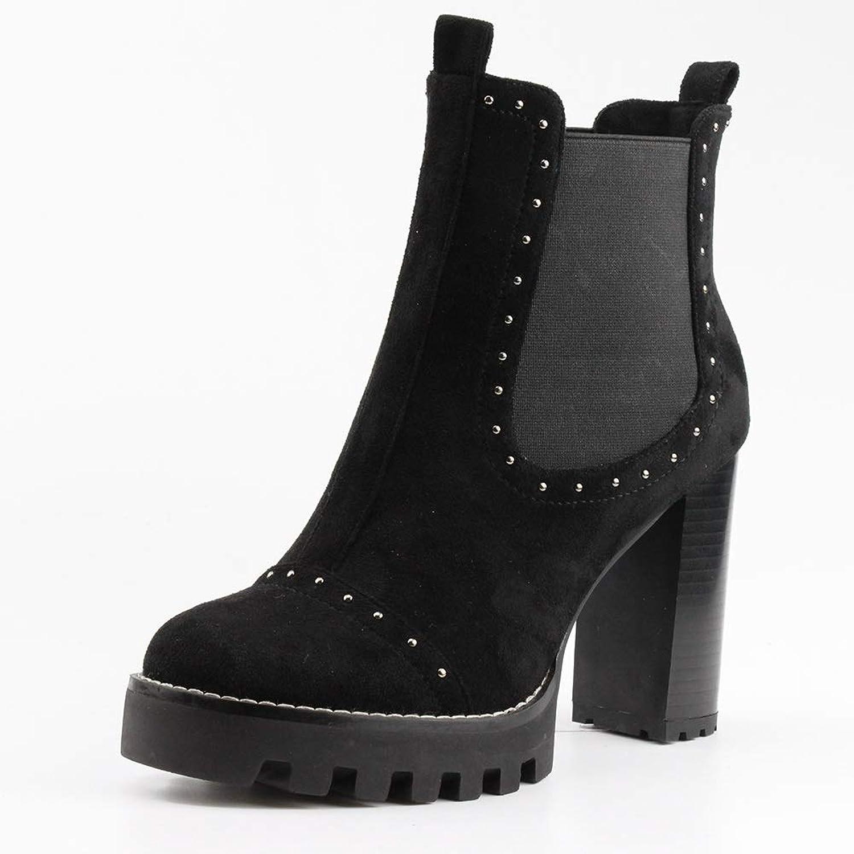 DoraTasia Women's Rivet Elastic Slip-on Chelsea Boots Chunky Heel Concise Ankle Boots