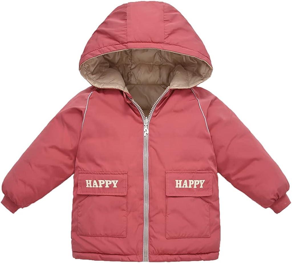 Children Hooded Down Coat Lightweight Double-sided Wear Jacket Toddler Winter Waterproof Puffer Jackets