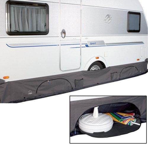 #11 Wohnwagen Bodenschürze Deluxe mit großen Taschen von 4-6 m Caravan Wagenschürze Radkastenschürze Wohnwagenschürze als Schutz Organizer Schrank Tasche Streifenvorhang Staufach