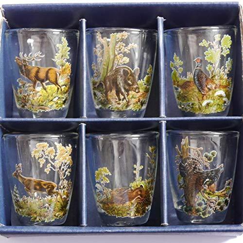 GTK - Gewei & Trofee kroomhout 6-delige jenever glazen set kort met gekleurde jachtdecor jachtmotief 2 cl