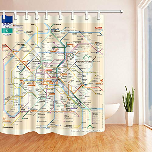 123456789 Metro de Paris Map douchegordijn van waterdichte stof en 12 haken 71 x 71 inch