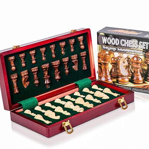 INTIGNIS Juego de ajedrez de Madera Hecho a Mano Plegable para Juego de niños Adultos Tradicional (Madera magnética (29x29 cm))