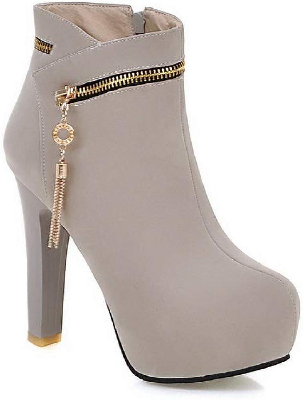BalaMasa Womens Chunky Heels Platform Tassels Urethane Boots ABL11051