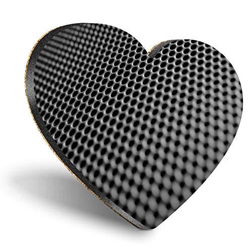 Posavasos con forma de corazón MDF, BW, Macro de música de altavoz, de calidad brillante, protección de mesa para cualquier tipo de mesa #38112