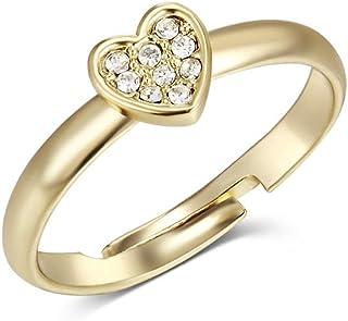 خاتم ذهبي اوفر ذا رينبو مع قلب صغير مرصع بكريستالات سواروفسكي من ميستيج - طراز MSRG3117