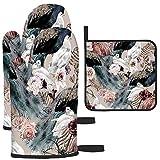 Puilkfgt Patrón Floral sin Costuras con pájaros Acuarela Mitones para Horno y Porta ollas (Juego de 3 Piezas) Calor Impermeable