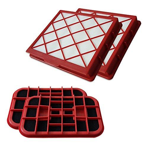 PakTrade Filterset 2X HEPA Filter + 2X Kohlefilter geeignet Für Lux 1, Lux1, Classic, Royal, D 820, D820, Staubcontainer
