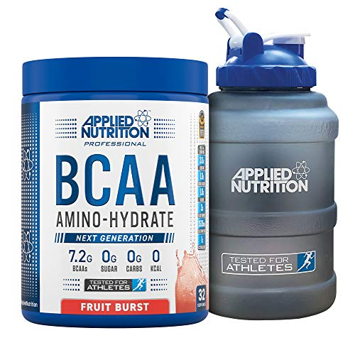 Applied Nutrition Bundle: BCAA Amino Hydrate Powder 450g + 2.5 LTR Water Jug | Branched Chain Amino Acids Supplement with Electrolytes, B Vitamins, Intra Workout & Recovery Drink (Fruit Burst)
