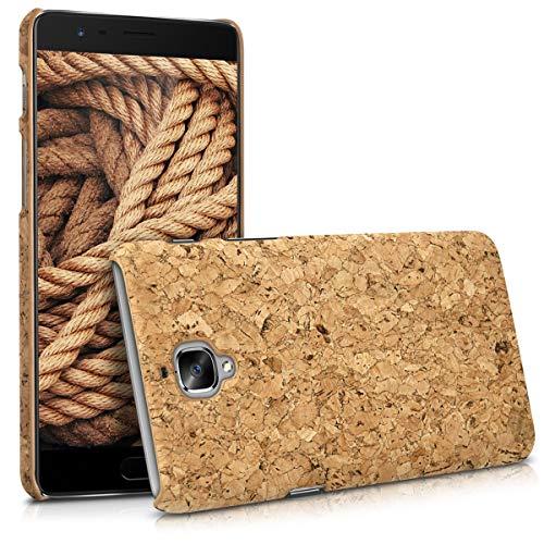 kwmobile Hülle kompatibel mit OnePlus 3 / 3T - Kork Handyhülle - Handy Case Cover Schutzhülle in Hellbraun