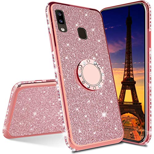 ISADENSER Compatible with Huawei Y9 2019 Case Ultra-Slim Scratch-Resistant Glitter Bling Diamond Silicon TPU Soft Cover with Ring Stand Holder for Huawei Y9 2019,Rose Gold TPU with Stand Holder