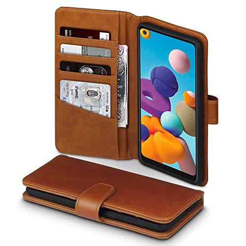 TERRAPIN, Kompatibel mit Samsung Galaxy A21 Hülle, [ECHT Leder] Brieftasche Hülle Tasche mit Standfunktion Kartenfächer & Bargeld - Cognac