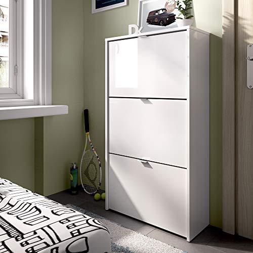 Homekit - Scarpiera a 3 ante, 18 paia, in melammina bianco lucido, 61 x 113 x 25 cm