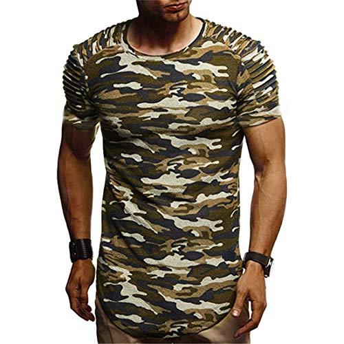 MENHG Men's Spring Summer T-shirt Pleated Shoulder Slim Fit Muscle Fitness Bodybuilding Sports Workout Short Sleeve Polo Shirts Solid Color Plus Size Casual Classic Curved Hem Crew Neck Undershirt Top