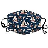 Foulard Marine Modello Bocca per barche a vela Lanterna Ruota Barca Bottiglia Stella di mare Occhiello per l'orecchio Occhi Protezione per il viso Sciarpa per bocca