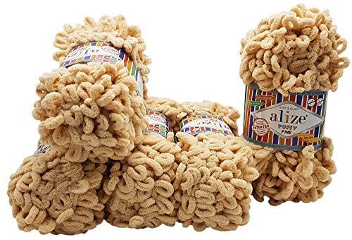 Alize Puffy fine 5 ovillos de lana de 100 g, 500 g, lana súper voluminosa, para tejer sin aguja...