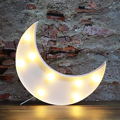 LED Moon Shaped Marquee Signs, Light Up Moon Night Lights Battery Operated Crescent Moon Lamp for Bedroom, Christmas, Birthday Party Decor-Moon(White)