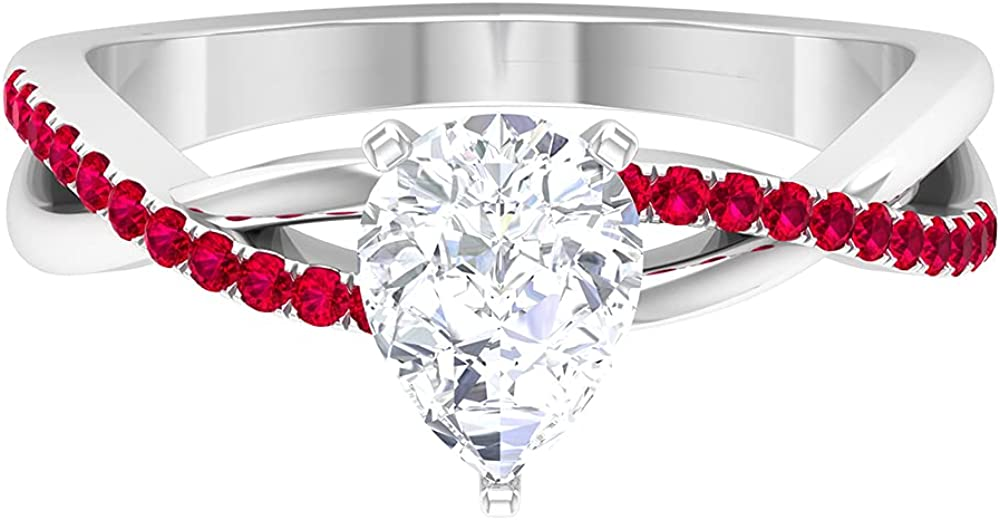 1.50 CT Pear Cut Moissanite and 2021 Arlington Mall model Twisted Ruby D-VS Ring Infinity