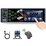 CAMECHO Radio de Coche Bluetooth 1 DIN con Pantalla Táctil de 3,8'' con USB Tipo-C / AUX / Puerto de Tarjeta TF Reproductor Receptor de Radio FM + Cámara + Micrófono + Control del Volante