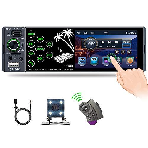 CAMECHO Radio de Coche Bluetooth 1 DIN con Pantalla Táctil de 3,8'' con USB Tipo-C/AUX/Puerto de Tarjeta TF Reproductor Receptor de Radio FM + Cámara + Micrófono + Control del Volante
