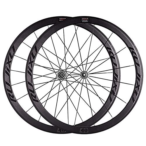 YUDIZWS Juego Ruedas Bicicleta 700c Aleación Aluminio Doble Pared 40mm Fibra Carbon del Tubo Liberación Rápida 8/9/10/11 Velocidades Freno C/V (Color : Grey)