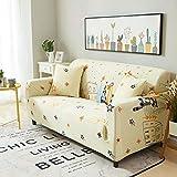 ARTEZXX Funda para sofá de Color Crema 1/2/3/4 plazas Impresión Completa Cobertura Completa Protector para Mascotas para Sala de Estar Dormitorio 2 plazas: 145-185 cm