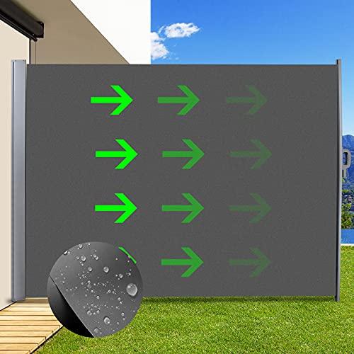 Toldo Lateral Retráctil 160 x 300cm, Toldo Extensible de privacidad para balcón, Resistente al Viento & la Lluvia, Hierro y...
