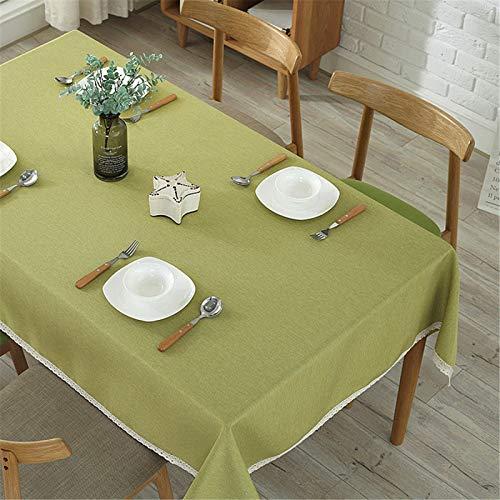 Algodón Y Lino Color Sólido Rectangular Grueso Blanco Encaje Hogar Hotel Mantel Multicolor Opcional TV Gabinete Cubierta Paño Té Mantel 140x180cm