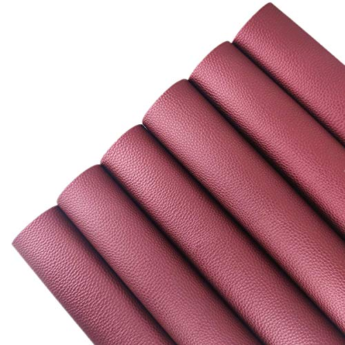 AOUXSEEM Vivid Shiny Faux Leather Sheets for Earrings Bows Jewelry Making, PU Pearlescent Gloss Fabric Bundle Cotton Back, 8.2 x 11.8 inch(21 x 30cm) (Deep Red, 6 Sheets)